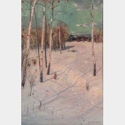 Svend Svendson (Norwegian/American, 1864-1934)      Birches and Snow