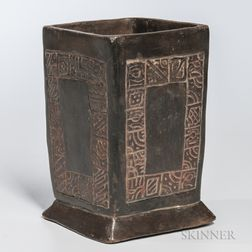 Rare Mayan Square Glazed Vessel