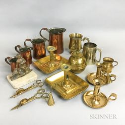 Group of Brass and Copper Domestic Items