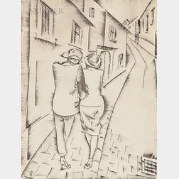 C. Pál Molnár (Hungarian, 1894-1981)      Strolling Couple
