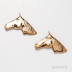 Two Roger Nichols Studio 14kt Gold Horse Brooches
