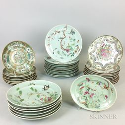 Thirty-seven Pieces of Celadon-glazed Rose Medallion and Famille Rose Porcelain Tableware.     Estimate $400-600