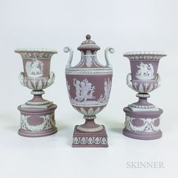 Three Wedgwood Lilac Jasper Items