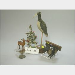 Fourteen Carved Wood Decoys and Figures, Book and Miniature Christmas Tree.
