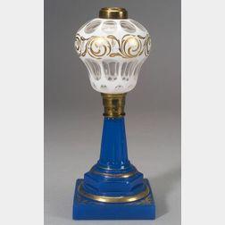 Cut Overlay Glass and Brass Fluid Lamp
