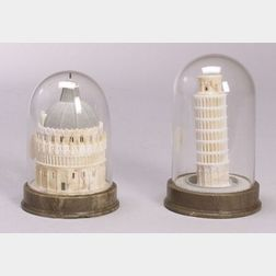 "Two Alabaster ""Grand Tour"" Miniature Architectural Models"