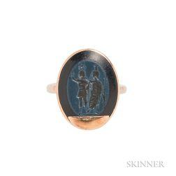 Gold and Roman Nicolo Intaglio Ring