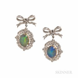 18kt White Gold, Opal, and Diamond Earrings
