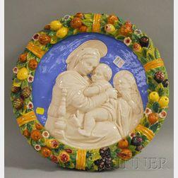 Della Robbia-type Glazed Ceramic Holy Family Plaque