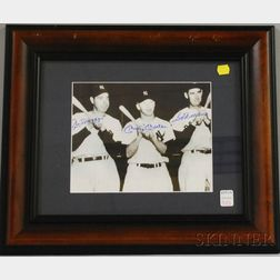 Joe DiMaggio, Mickey Mantle, and Ted Williams Autographed Photograph