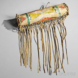 Blackfeet Polychrome Buffalo Hide Bonnet Case