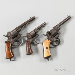 Three French Pinfire Revolvers