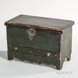 Miniature Green-painted Blanket Chest over Drawer