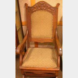 Victorian Upholstered Carved Oak Platform Rocker and Adjustable-back Morris Chair.