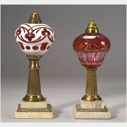 Two Cut Overlay Glass, Brass, and Marble Fluid Lamps