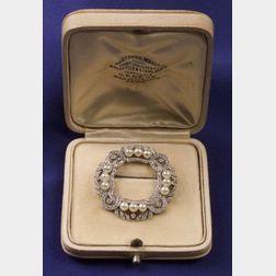 Edwardian Platinum, Diamond, and Pearl Brooch