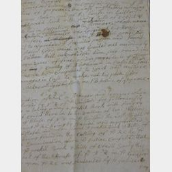 1754 Guilford Justice of the Peace Document Related to the Theft of a Pockit Book.