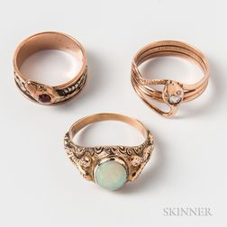 Three Gold Snake Rings