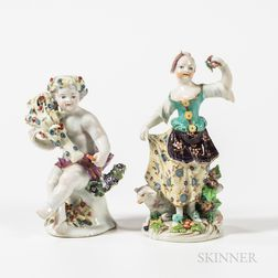 Two Chelsea/Derby Porcelain Figures of Children