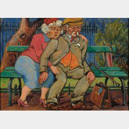 Harry Aaron Kernoff  (Irish, 1900-1974)      Darby and Joan, St. Stephen's Gn Dublin