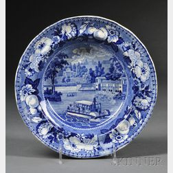 "Blue Transfer-decorated ""The Dam and Water Works Philadelphia"" Soup Bowl"