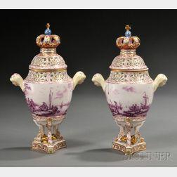Pair of Thieme Porcelain Potpourri Vases and Covers