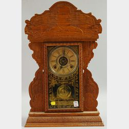 "E.N. Welch ""Admiral Dewey"" Pressed Oak Shelf Clock"