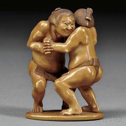 Ivory Okimono of Two Sumo Wrestlers