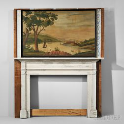 North Hampton Harbor Overmantel Painting and Painted Carved Mantelpiece