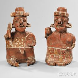 Large Nayarit Seated Male and Female Pair, Ixtlan del Rio Style