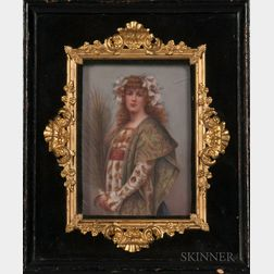 German Porcelain Plaque Depicting a Costumed Woman