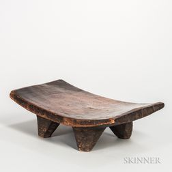 Senufo-style Carved Wood Low Stool