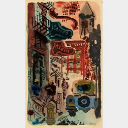 George Grosz (German/American, 1893-1959)      A New York Street
