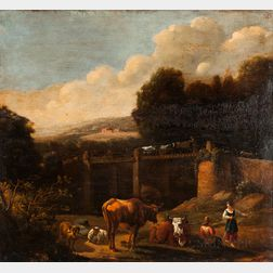 School of Nicolaes Berchem (Dutch, 1634-1683)      Sheep and Cattle at Rest with Herders Near a Tall Bridge