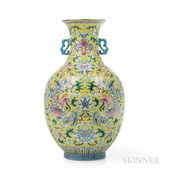 Famille Rose Yellow-ground Vase