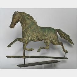 Molded Copper and Zinc Running Horse Weathervane