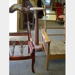 Victorian Oak Spindle-sided Morris Chair, Reeded Pedestal, Birch Parlor Chair and a Gilt Frame.