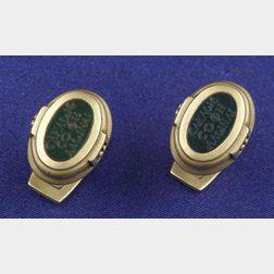 Gentleman's 18kt Gold and Bloodstone Cuff Links, B. Kieselstein-Cord