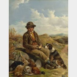John Sargent Noble (British, 1848-1896)    A Young Boy and His Dog After a Day's Hunt