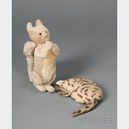 Early Wool Flannel Sleeping Cat and a Steiff Cream Mohair Squirrel