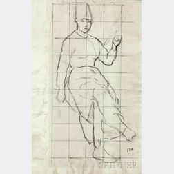 Jean François Millet (French, 1814-1875)      Two Figural Drawings: Study for La Fileuse Auvergnate   (Seated Woman with a Distaff)