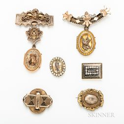 Group of Victorian Low-karat Gold Brooches