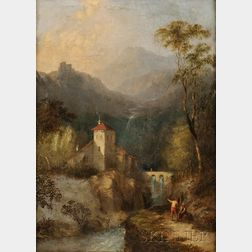 European School, 19th Century      Figures in an Italian Landscape
