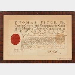 Thomas Fitch Signed Connecticut Officer's Commission