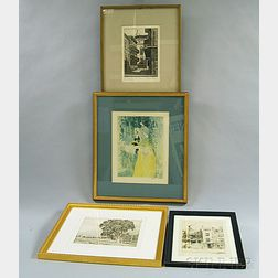 Four Framed Prints:      Eugene E. Loving (American, 1907-1971),   The Cabildo Alley, Old New Orleans
