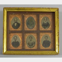 Six Ninth-plate Ambrotype Portraits in a Common Frame