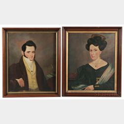 American School, 19th Century      Pair of Portraits of John Batchelor Bull and Caroline Philbey Bull, New York State
