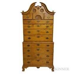 Eldred Wheeler Chippendale-style Carved Tiger Maple Chest-on-chest