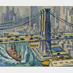 American School, 20th Century      Brooklyn Bridge and Manhattan View