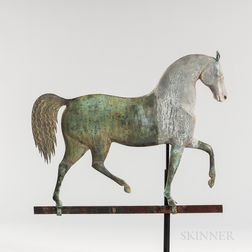 "Cast Zinc and Molded Sheet Copper ""Index"" Horse Weathervane"